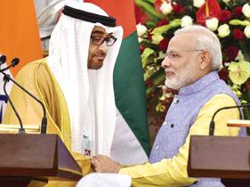 Narendra Modi with Abu Dhabi's Crown Prince